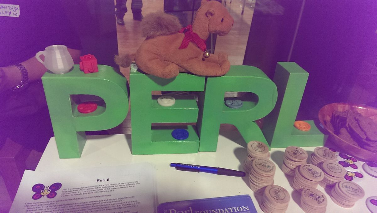 Sponsors brought along a bunch of Perl Letters and camels