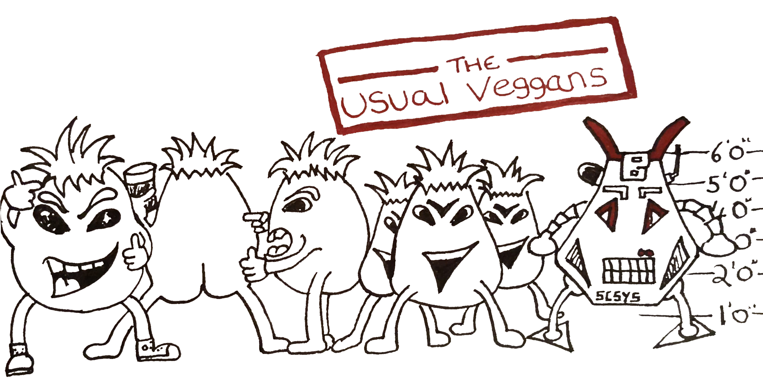 The line up of the usual words as Veggan characters