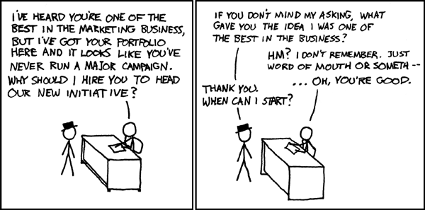 marketing interview comic from XKCD